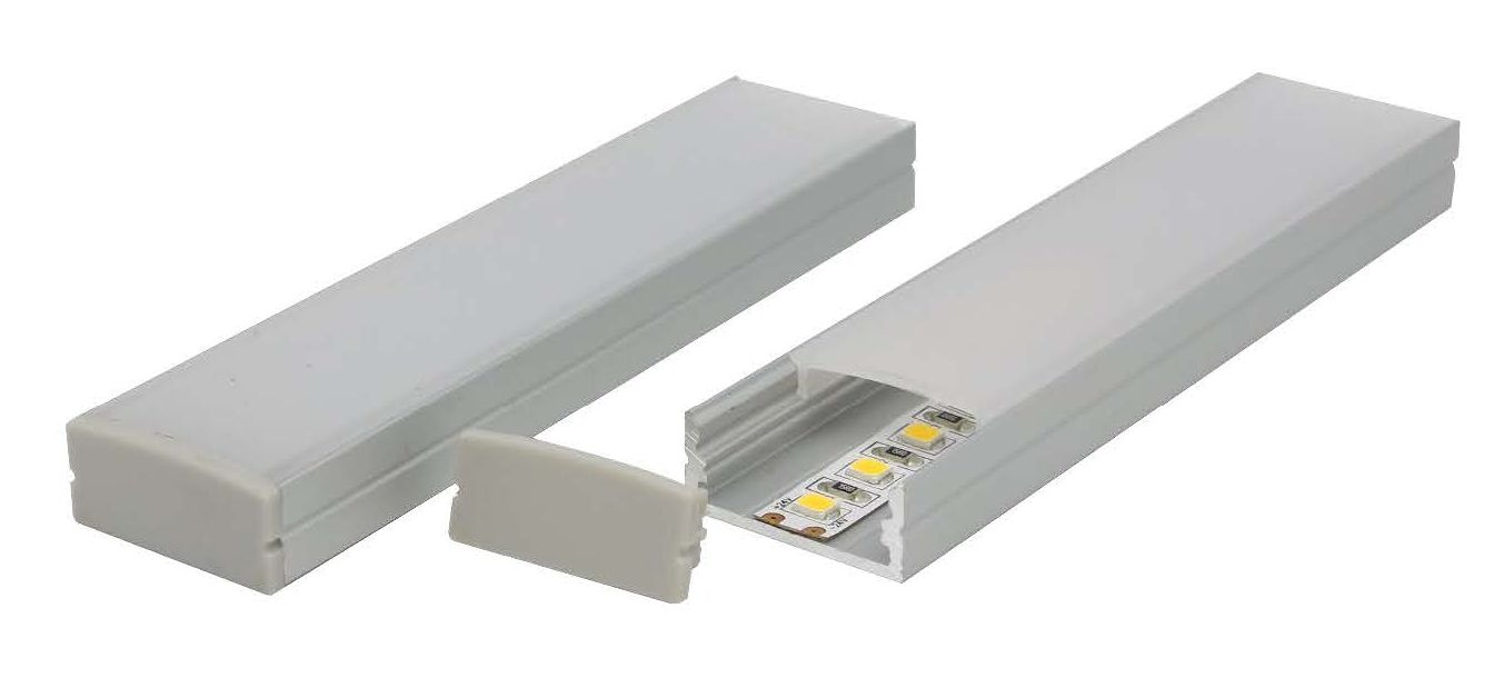 Wide shallow LED aluminium extrusion E714